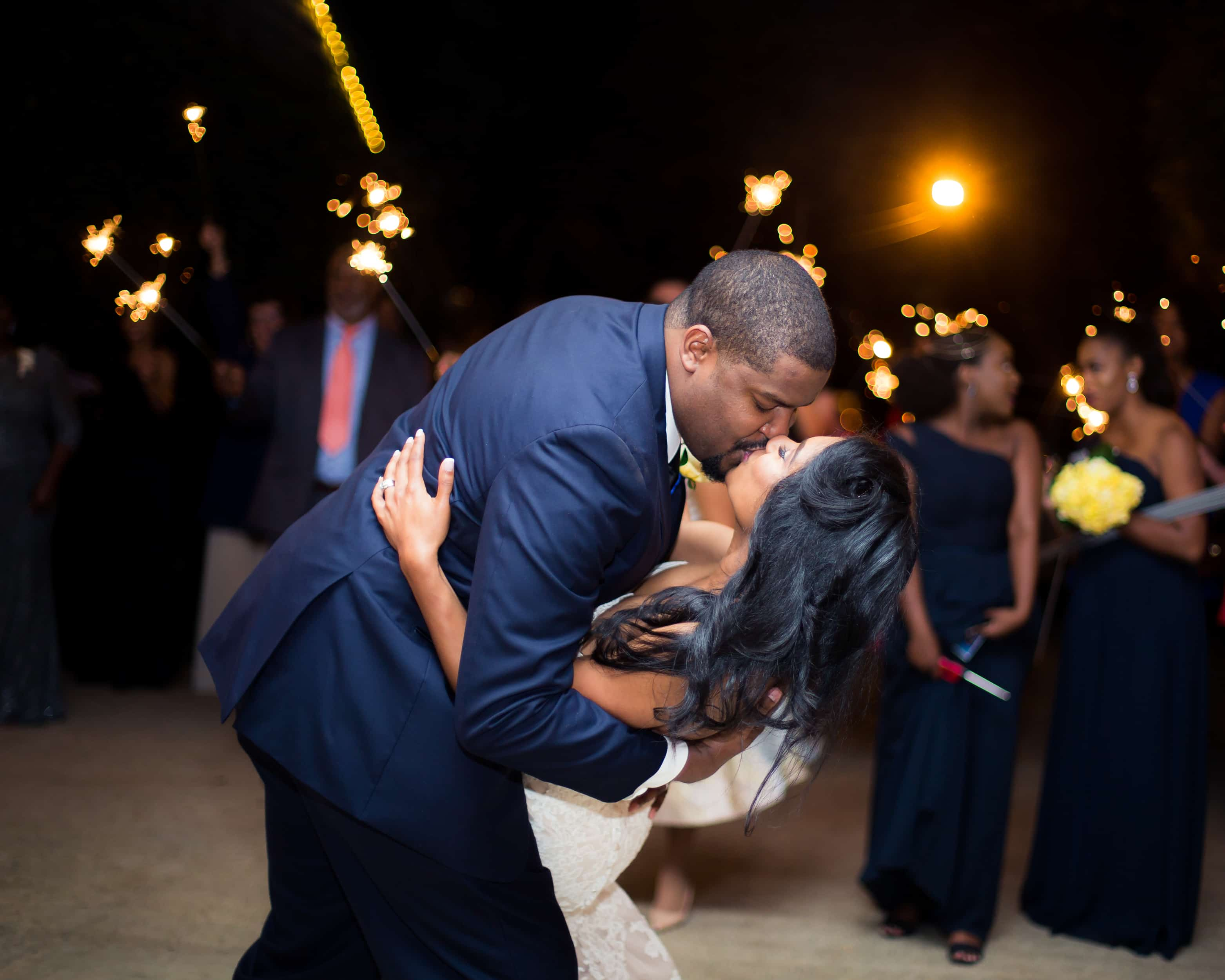 Real Wedding: Timothy and Cametria\'s Elegant Navy and Yellow ...