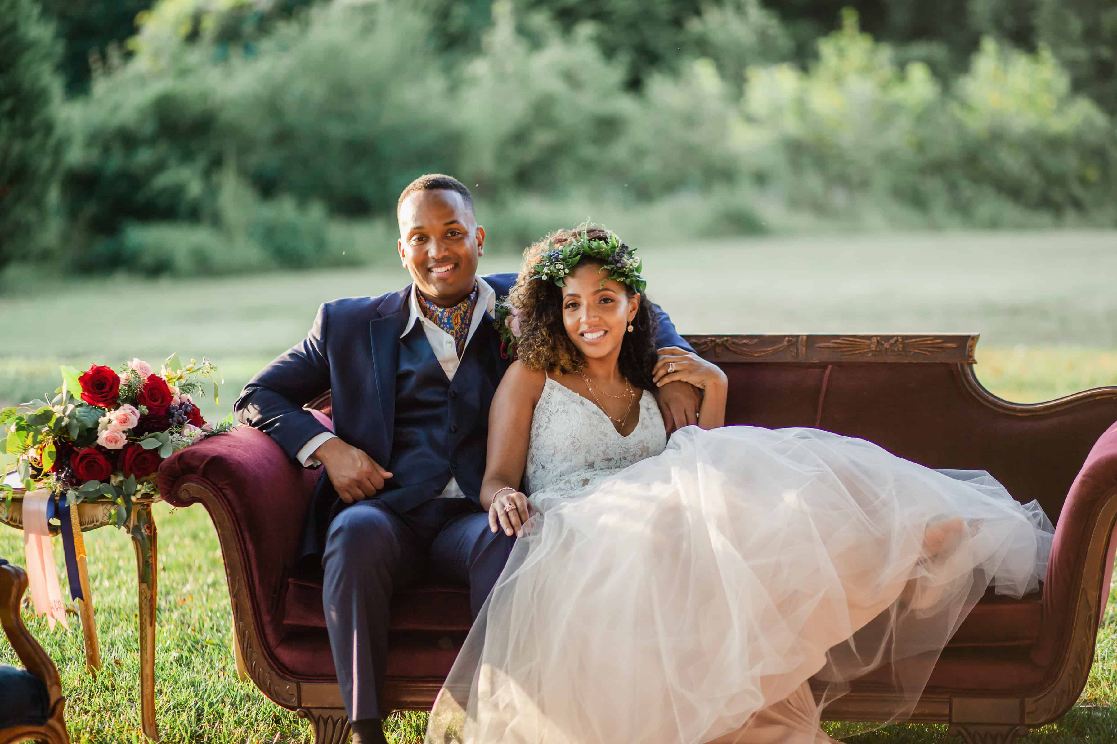 Styled Navy and Bordeaux Garden Wedding (NC) - Black Nuptials